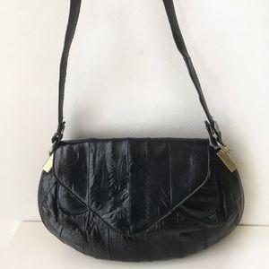 Vintage 70's Eel Skin Small Black Handbag